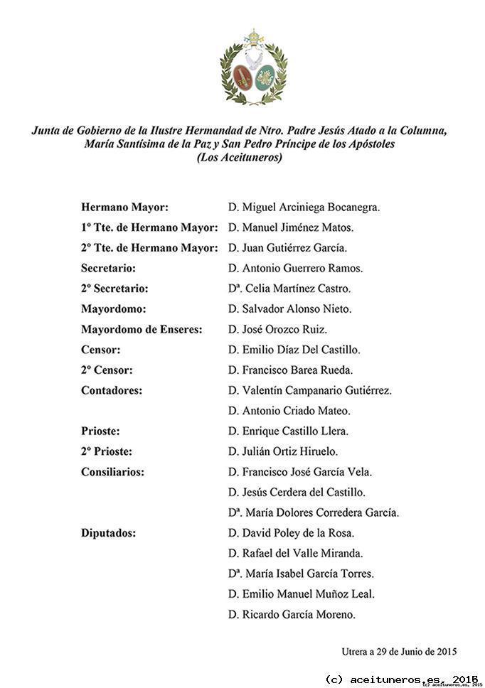 Composición Junta de Gobierno 2015